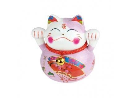 Kočka štěstí fialová 10 cm - ručně malovaná