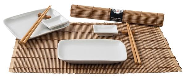 Levně Japonský sushi set pro dva - hnědý