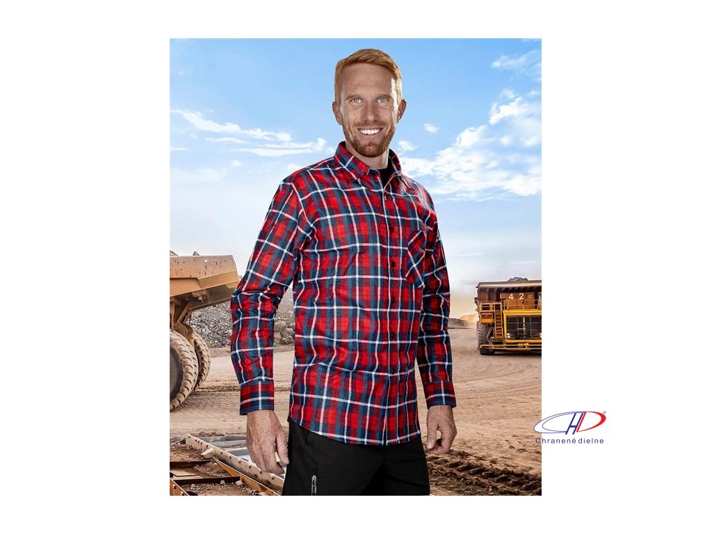 Flanelová košeľa JONAH, červená 39-40