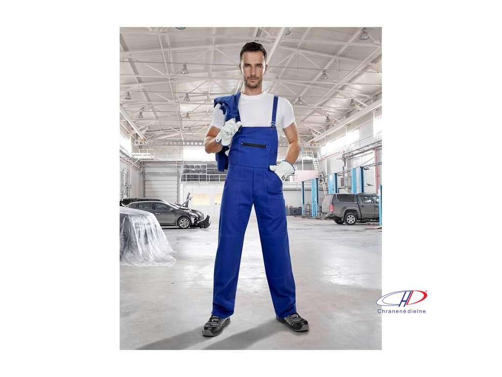 Nohavice s náprsenkou KLASIK stredne modré 58