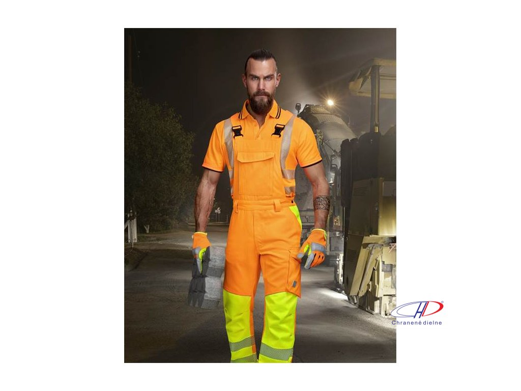 Nohavice s náprsenkou SIGNAL predĺžené oranžové S