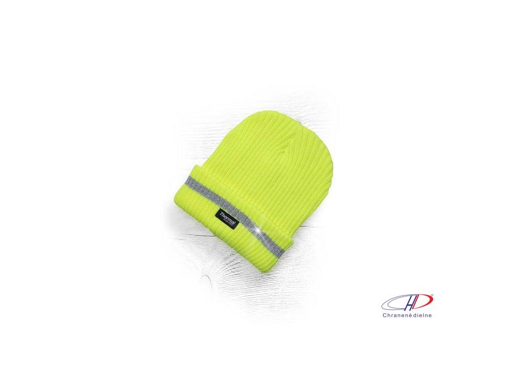 Zimná čiapka pletená + flísová podšívka hi-viz SPARK žltá