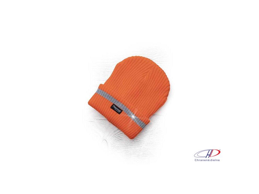 Zimná čiapka pletená + flísová podšívka hi-viz SPARK oranžová