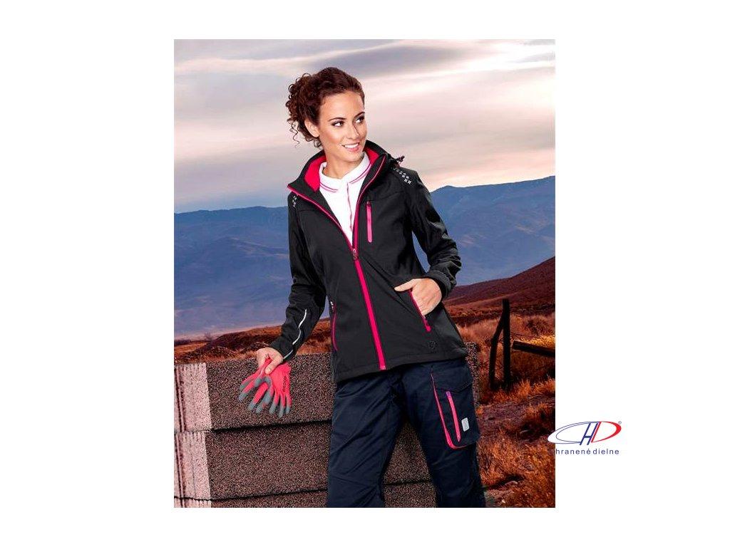 Bunda softsh. FLORET dámska, čierna (ružové zipsy) XS