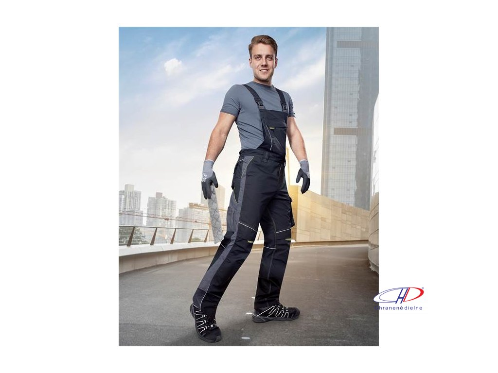 Nohavice s náprsenkou URBAN čierno-sivé - 183-190 cm M