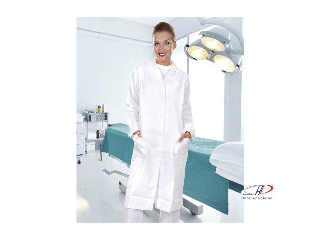 Plášť dámsky ELIN dl. rukáv biely 54