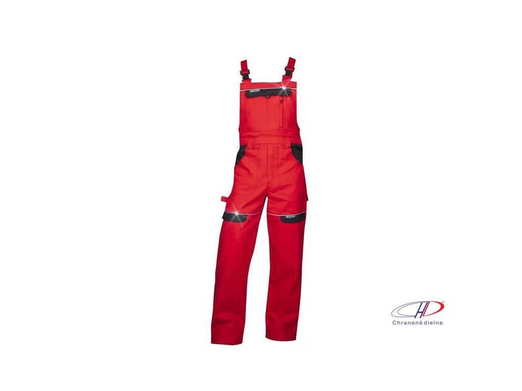 Nohavice s náprsenkou COOL TREND červené 62