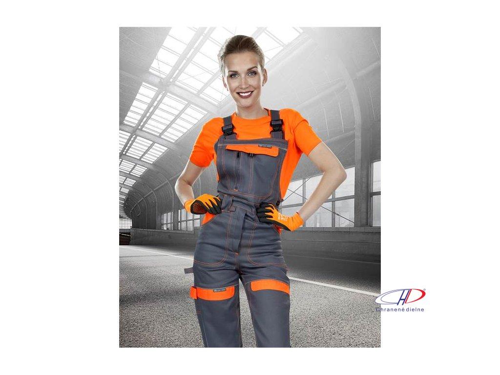 Nohavice s náprsenkou COOL TREND dámske sivo-oranžové 36