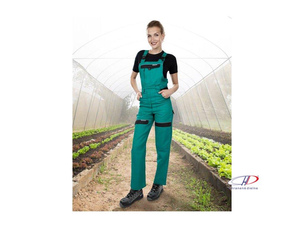 Nohavice s náprsenkou COOL TREND dámske zeleno-čierne 38