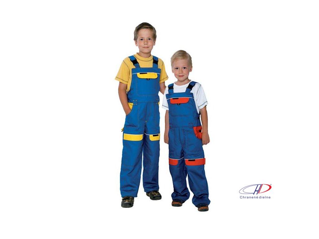 Detské nohavice s náprsenkou COOL TREND modro-žlté 104