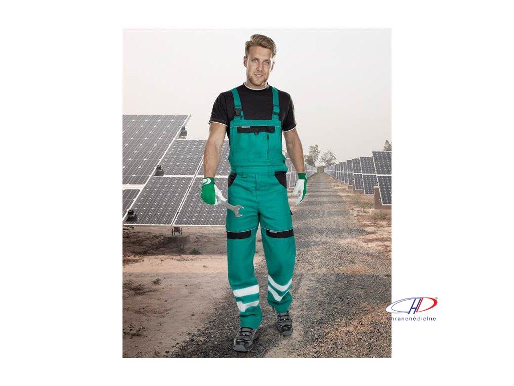 Reflexné nohavice s náprsenkou COOL TREND zelené 46