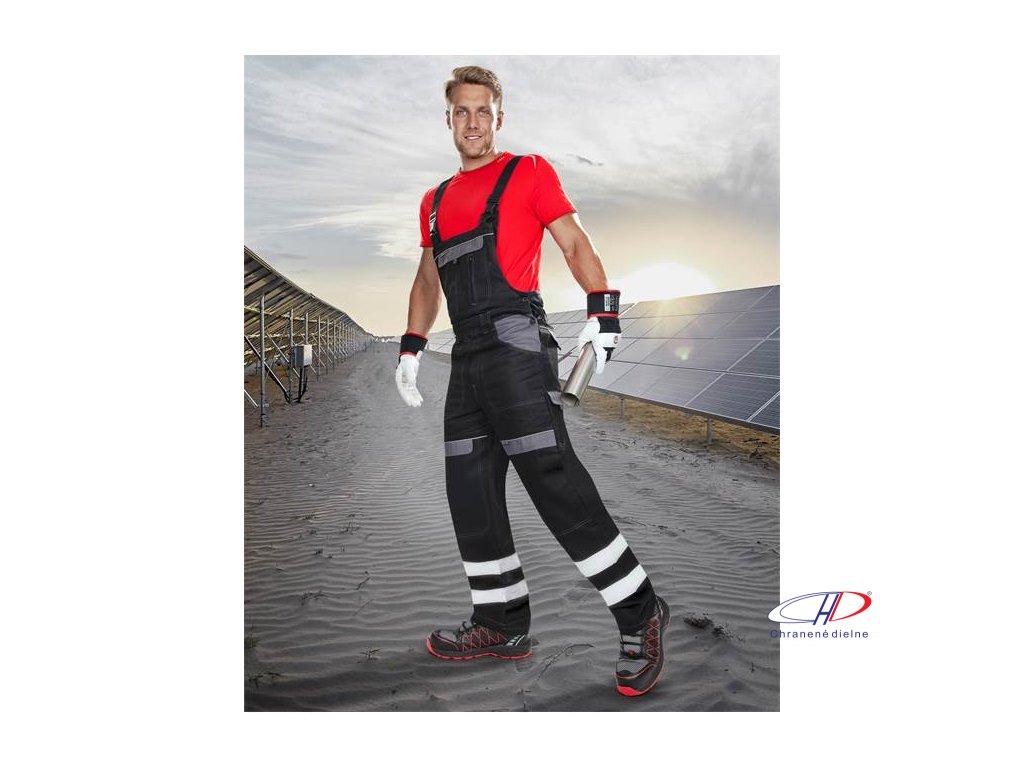 Reflexné nohavice s náprsenkou COOL TREND čierno-sivé 46