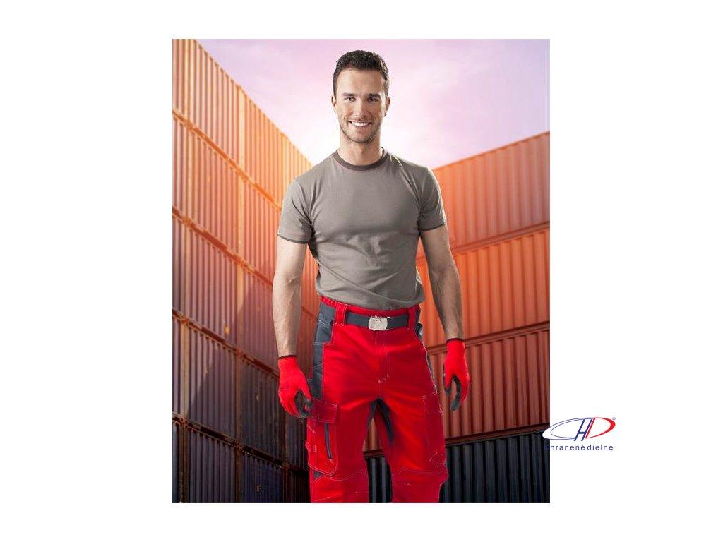 Nohavice do pása VISION 02 červeno-sivé 46