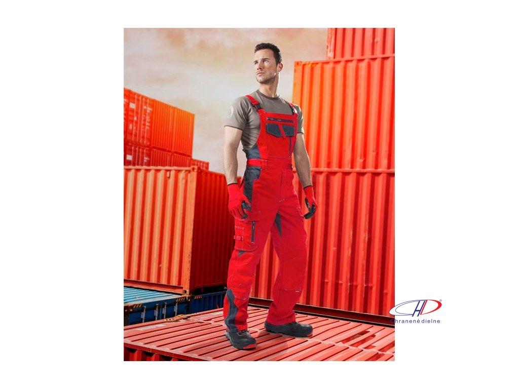 Nohavice s náprsenkou VISION 03 červeno-sivé 46