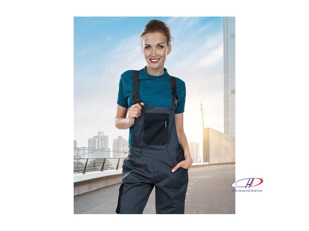 Dámske nohavice s náprsenkou 4TECH 03 sivo-čierne, 164-172 38
