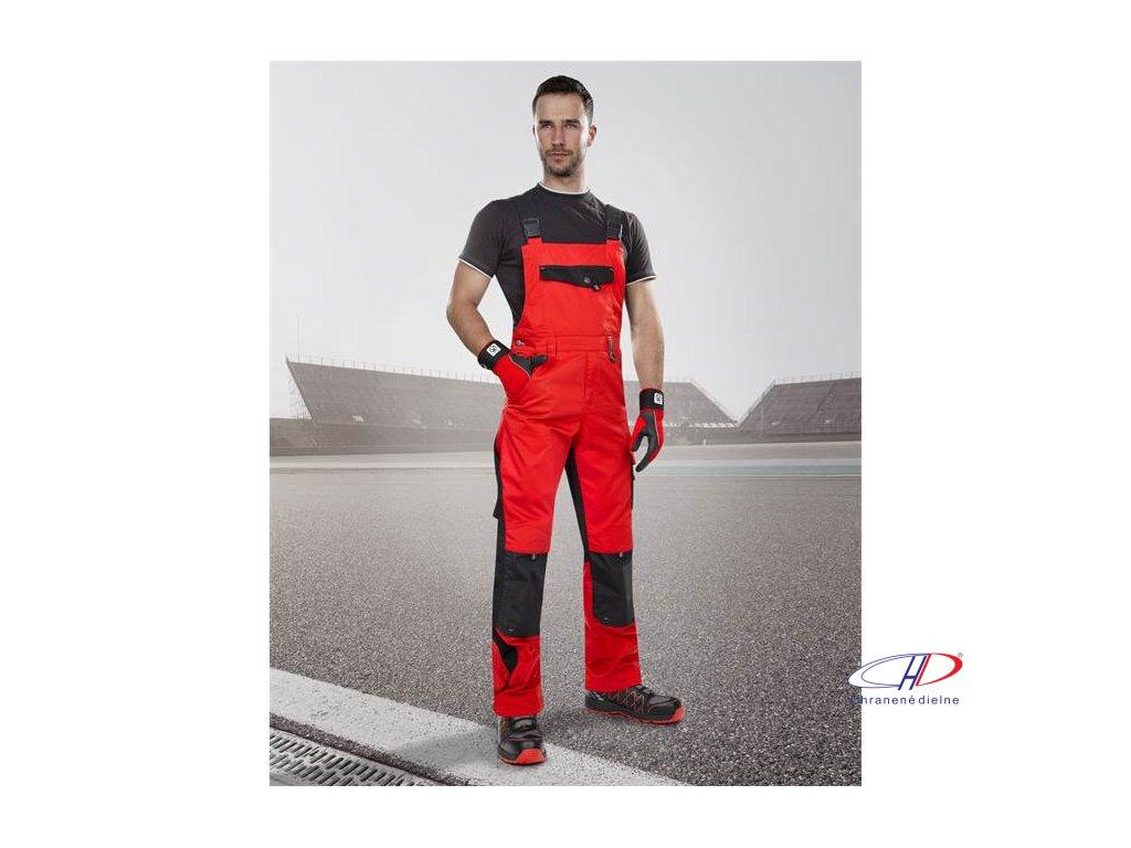 Nohavice s náprsenkou PRE100 03 červeno-čierne 46