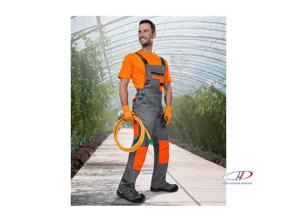 Nohavice s náprsenkou 2strong 03 sivo-oranžové 46