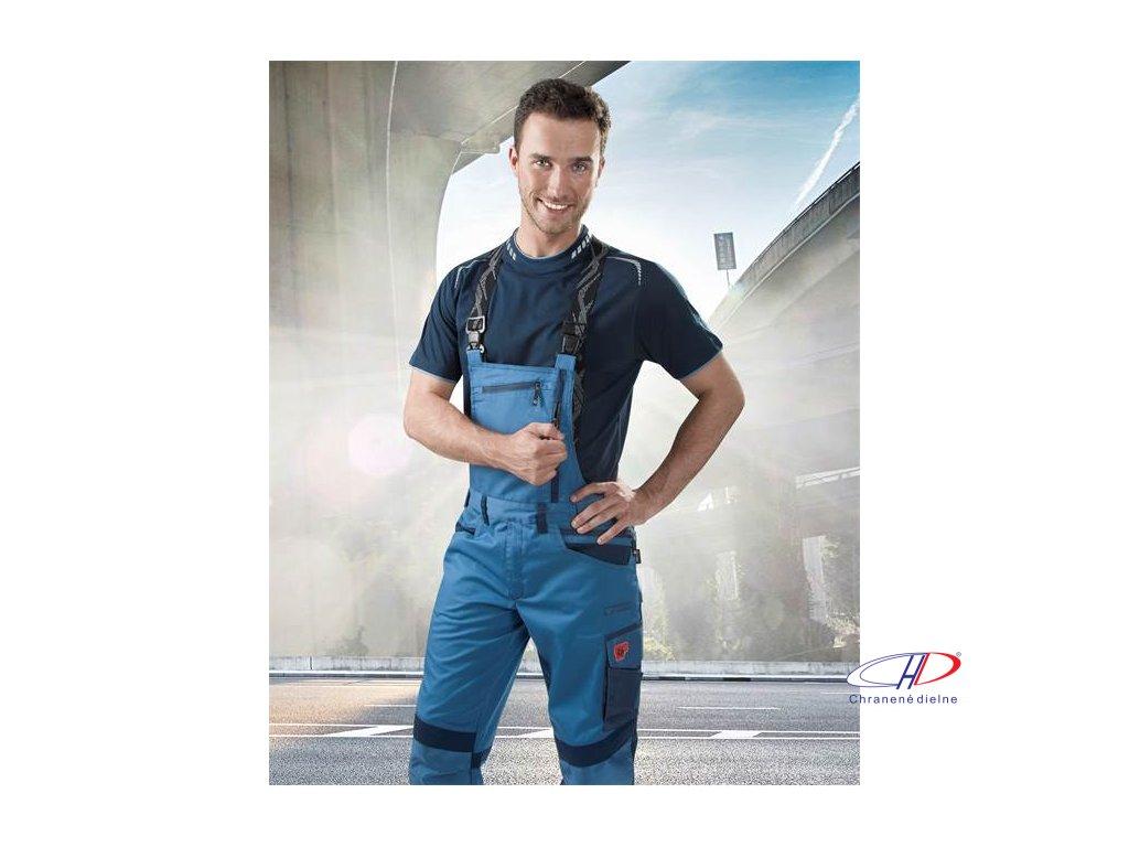 Nohavice s náprsenkou R8ED+ modrá, skrátené 46