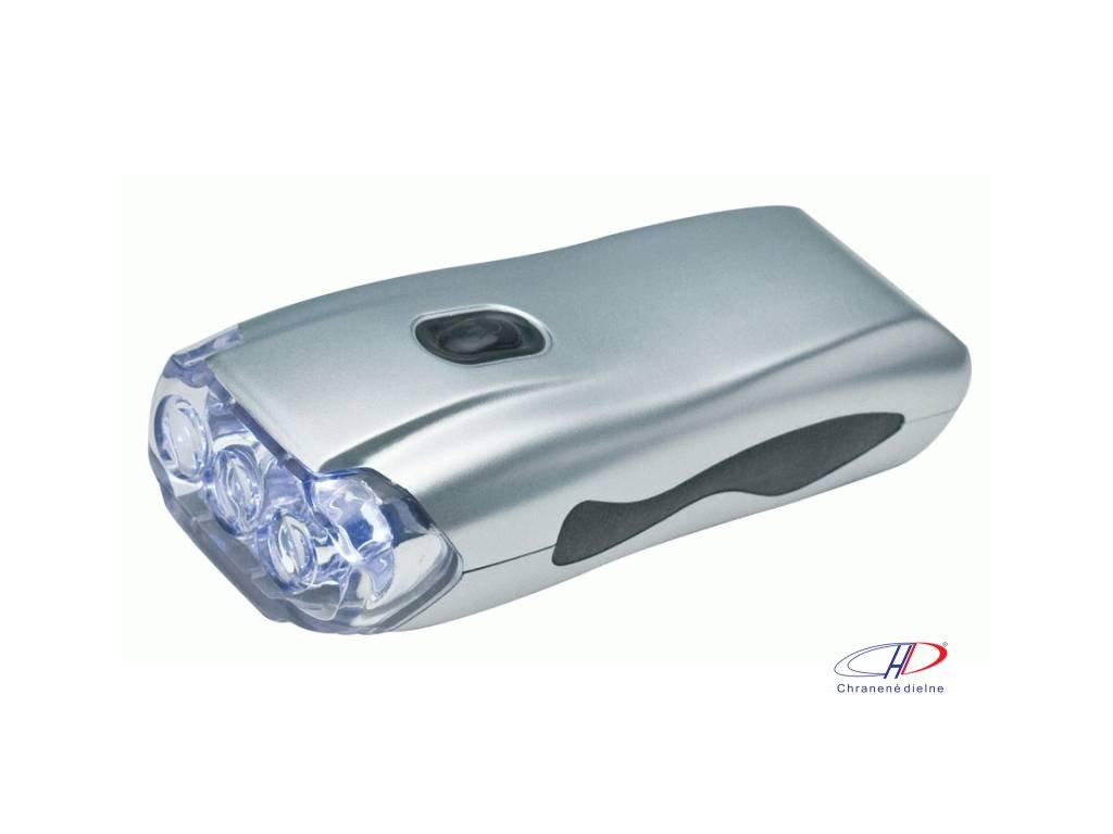 Baterka s dynamom, 3 LED svetlá , Silver