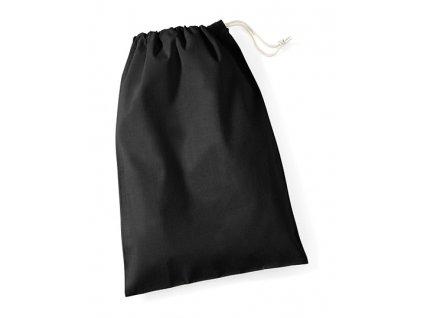 WM115-BL Bavlnené sťahovacie vrecko , Black, L (40x50cm)