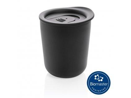Antibakteriálny termohrnček (250 ml), plastové vnútro, teplo/chlad: 2/4 hodiny , Black