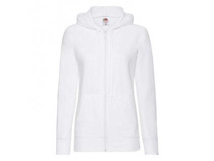 FN27•Ladies Lightweight Hooded Sweat Jacket , white, S