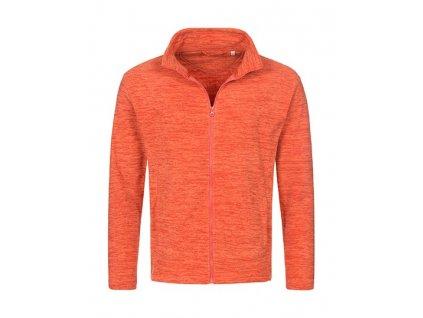 HS104•Melange Fleece Jacket , Pumpkin Melange, S