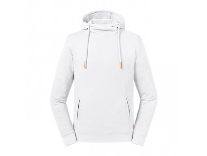 209M•Pure Organic High Collor Hooded Sweat , white, XS