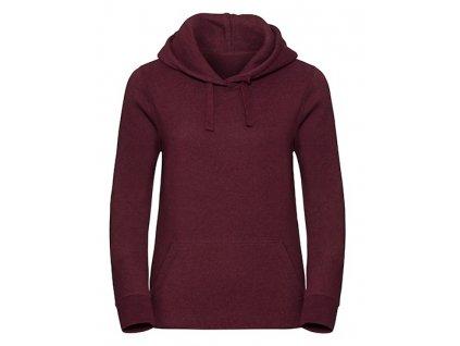 261F•Ladies` Authentic Melange Hooded Sweat , Burgundy Melange, XS