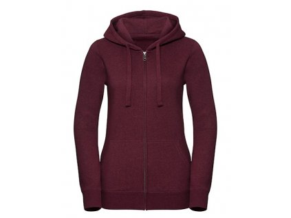 263F•Ladies` Authentic Melange Zipped Hood Sweat , Burgundy Melange, XS