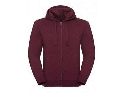263M•Men`s Authentic Melange Zipped Hood Sweat , Burgundy Melange, XS