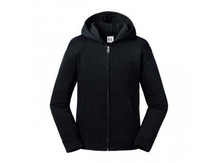 266B•Kids Authentic Zipped Hooded Sweat , Black, 3//4