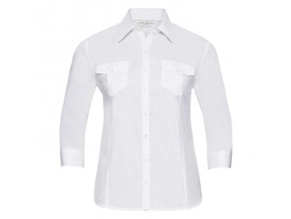918F•Ladies` Roll 3/4 Sleeve Fitted Twill Shirt , white, XS