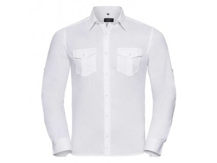 918M•Men`s Roll Long Sleeve Fitted Twill Shirt , white, S