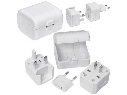 Cestovný adaptér vhodný pre EU, UK, US/AU, HK, Čína , white