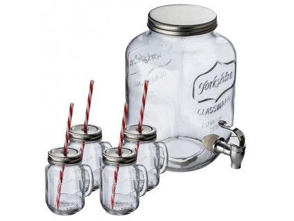 Dávkovač nápojov (4000 ml) so 4 pohármi (450 ml) a slamkami , transparent