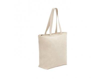 100% bavlnená taška so zipsom , light natural