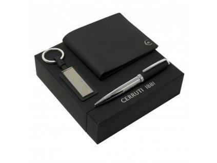 Guľôčkové pero, kľúčenka a peňaženka , black/silver