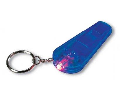 Kľúčenka s LED svetlom a píšťalkou , transparent blue