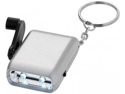 Kľúčenka - dynamo baterka s 2 LED svetlami , Silver
