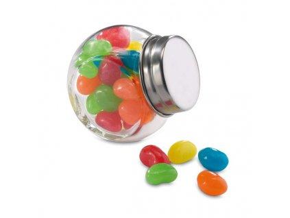 Farebné želatínové cukríky v sklenenej nádobe , multicolour