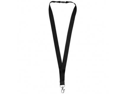 Bambusová šnúrka na krk s bezpečnostnou sponou (20 mm) , solid black
