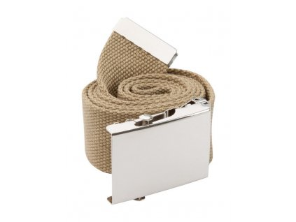 Polyesterová opasok s kovovou sponou , beige/silver