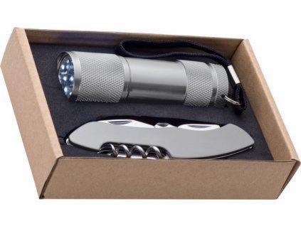 Sada - baterka s 9 LED svetlami a vreckový nôž , Grey