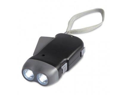 Baterka s 2 LED svetlami a dynamom , Black