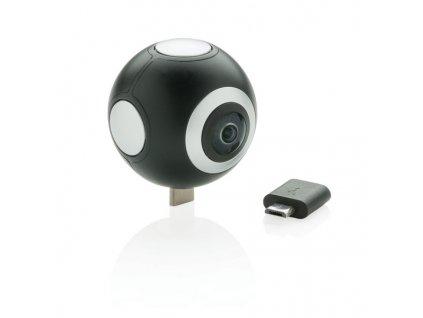 360° kamera s dvojitým objektívom , Black