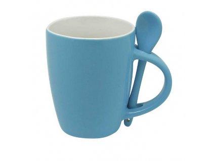 Dvojfarebný hrnček s lyžičkou (300 ml) , light blue