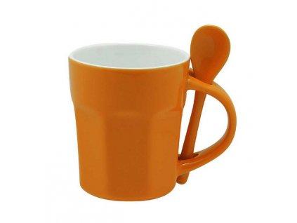 Dvojfarebný hrnček s lyžičkou (270 ml) , Orange