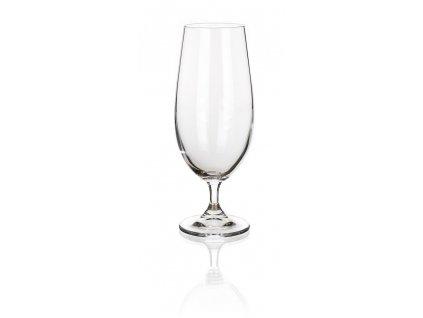 LEONA sada 4 pivných pohárov na stopke (370 ml) , transparent
