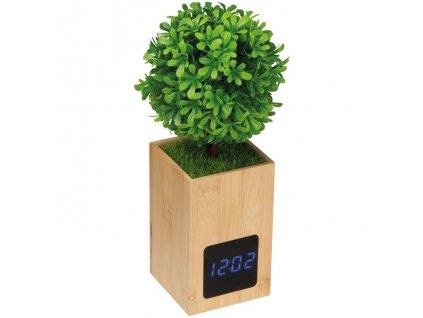 Bambusové stolové hodiny s dekoráciou , Beige